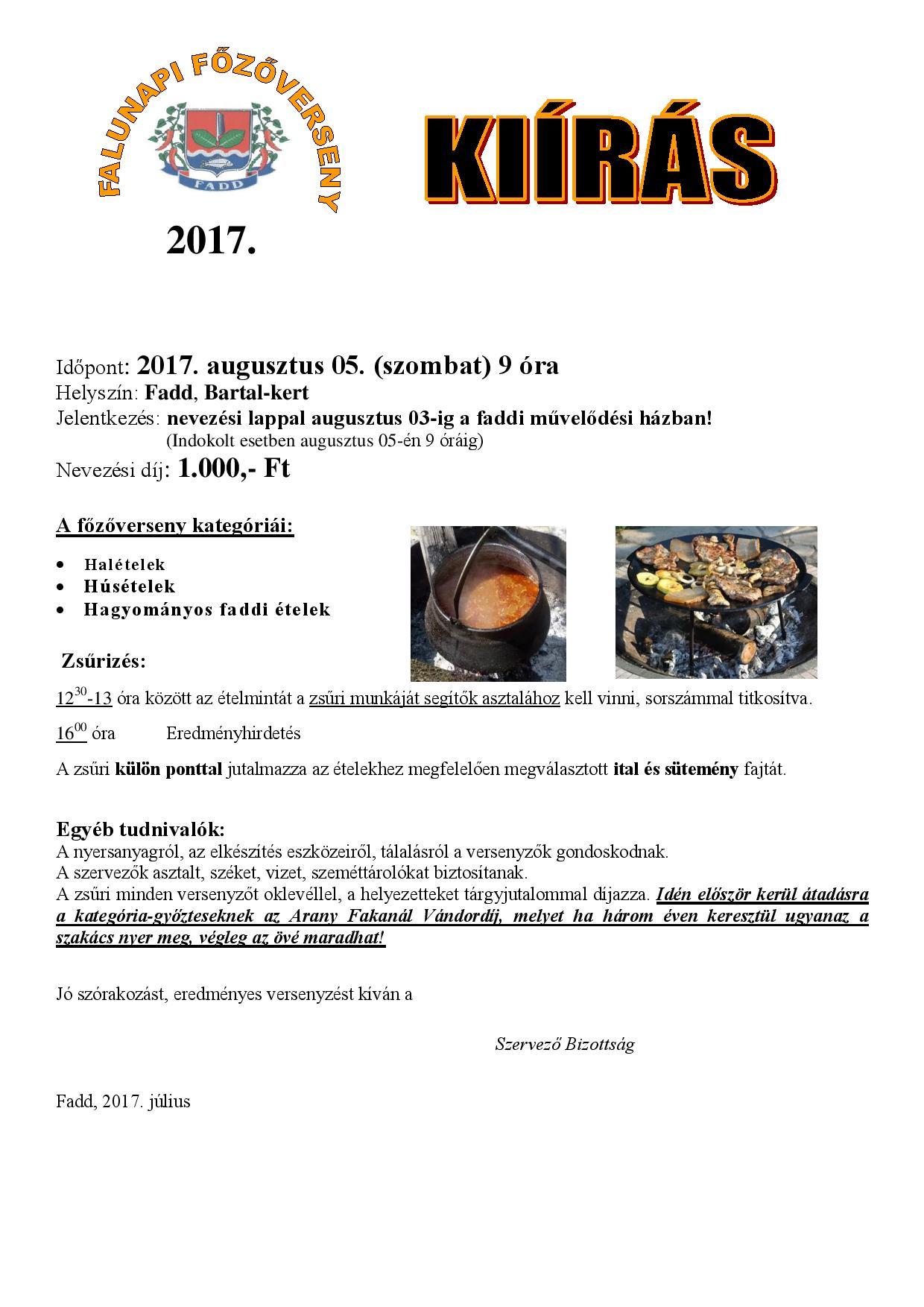 Falunapi főzőverseny kiírás