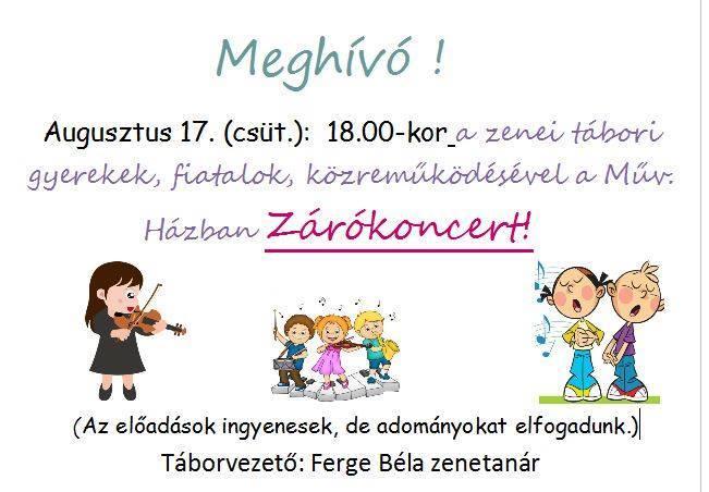 Szeretettel várjuk kedves mindannyiukat a Zenetáboros gyermekek és tanáraik mai …
