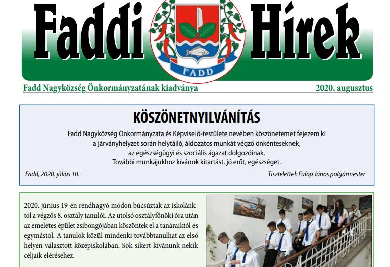 Megjelent a Faddi Hírek új száma